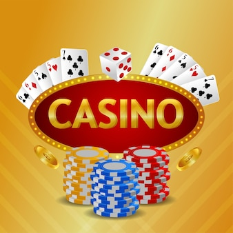 Casino luxury vip invitation background with playing cards and casino chip