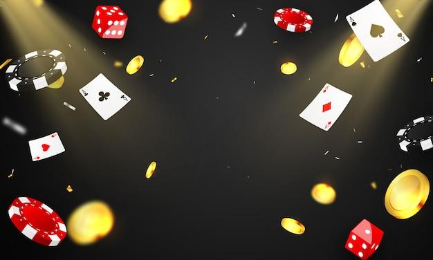 お祝いパーティーギャンブルのバナーの背景を持つカジノ高級vip招待状。