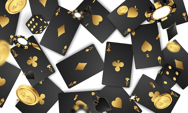 Casino luxury vip invitation with confetti celebration party gambling background.