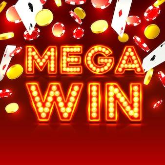 Casino mega win signboard, game banner design . vector illustration