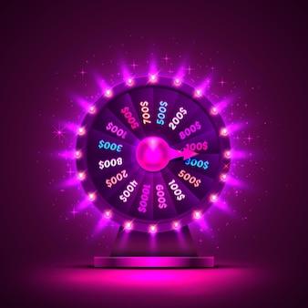 Казино неоновое красочное колесо фортуны