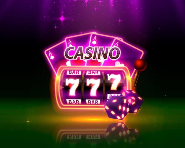 Неоновая обложка казино, игровые автоматы и рулетка с картами, фоновое искусство сцены. векторная иллюстрация
