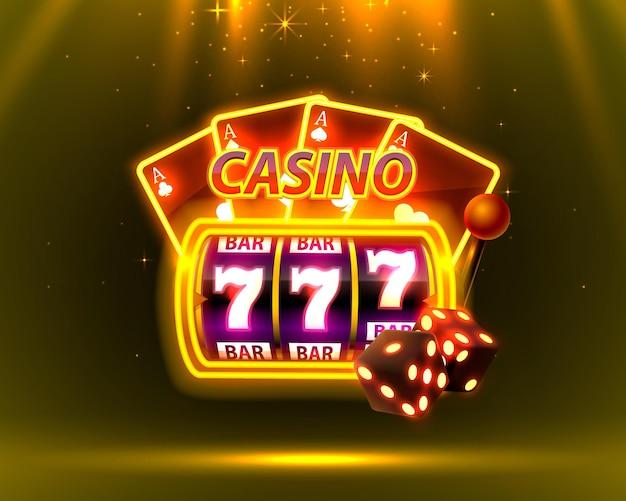 Неоновая крышка казино, игровые автоматы и рулетка с картами, фоновое искусство сцены