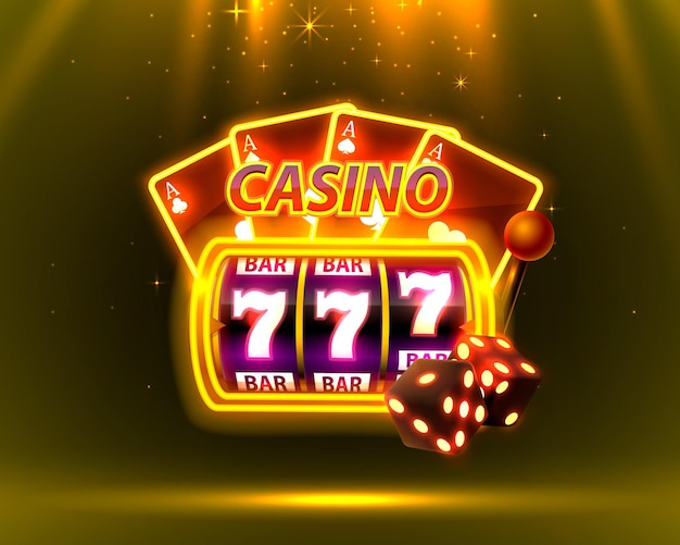 Casino neon cover, slot machines and roulette with cards, scene background art