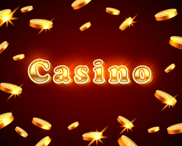 Casino neon signboard, text banner. flying falling coins. vector illustration
