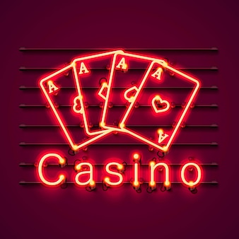 Casino neon signboard, text banner. vector illustration