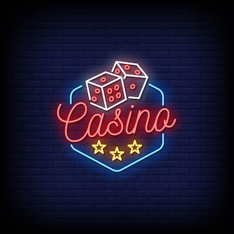 Casino neon signs style text .