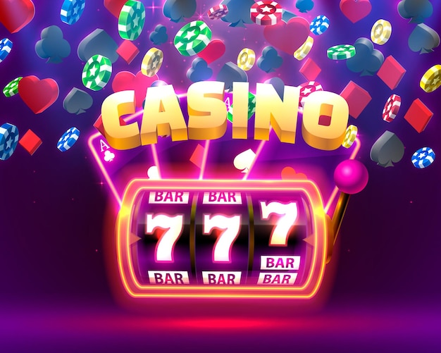Casino neon slot machine, playing cards wins the jackpot.