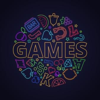 カジノのネオンのシンボル。円のフルーツハートクローバーダイヤモンド線形背景のスロットマシンゲームライトアイコン