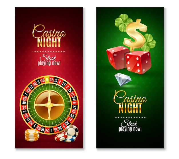 Casino night 2 vertical banners set