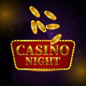 Ночной баннер казино с креативной золотой монетой