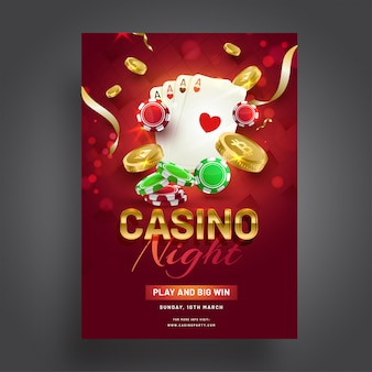 Casino night celebration template design with casino elements on