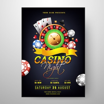 Casino night celebration template design with roulette wheel and
