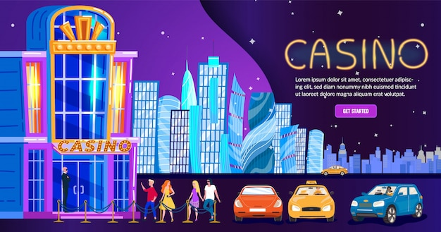 Casino in night city, people nightlife club entrance, skyline background for website,  illustration