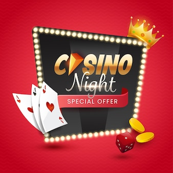 Casino night font over marquee light frame with 3d golden crown, coins, dice and playing cards on red background.