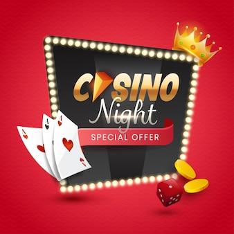 Ночной шрифт казино над рамкой светового шатра с 3d золотой короной, монетами, игральными костями и игральными картами на красном фоне.