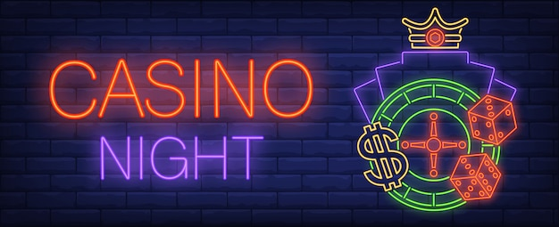 Casino night neon sign. dice, roulette and glowing inscription on brick wall background