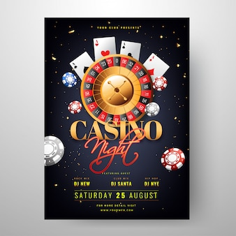 Casino night party invitation card design with roulette wheel il
