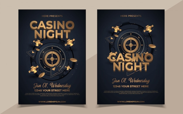 光沢のある黒の背景と会場の詳細にカジノ要素を持つカジノナイトパーティーテンプレートデザイン。