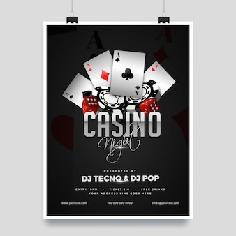 Casino night party template design with casino elements