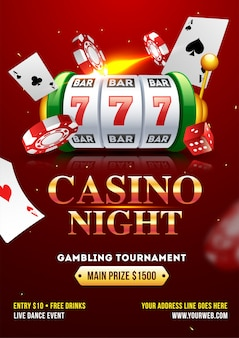 Casino night party template or flyer design with realistic slot