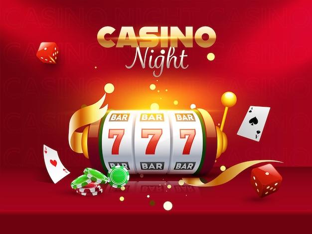 Ночной казино плакат или макет флаера с 3d-игровым автоматом, игральными костями, фишками для покера и картами туза на красном фоне.
