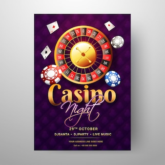 Casino night template or flyer design with roulette wheel and ot