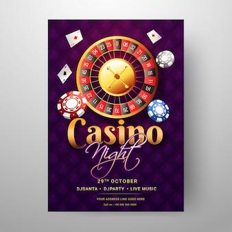 Шаблон night casino или дизайн флаера с колесом рулетки и ot