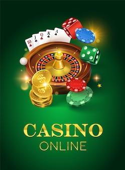 緑の背景にカジノ。金貨、カード、ルーレット、チップ。垂直フォーマット。図