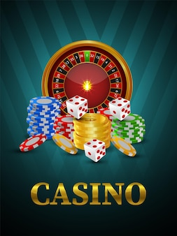 Casino online gambling game flyer with roulette wheel
