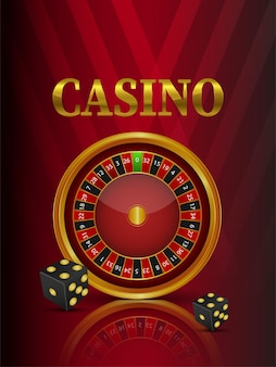 Casino online gambling game with roulette wheel and playing cards