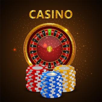 カラフルなチップを備えたカジノスロットを備えたカジノオンラインゲーム
