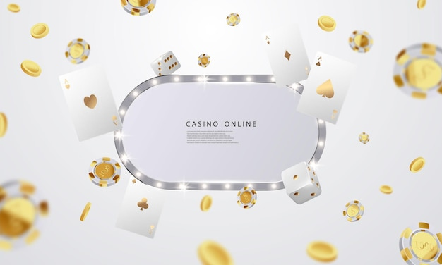 Casino online. smartphone or mobile phone, slot machine, casino chips flying realistic tokens for gambling, cash for roulette or poker,