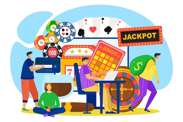 Casino online, vector illustration. luck game, jackpot and fortune wheel, man woman people character play gambling in internet. winner with money bag, smartphone, poker chips and bingo card.