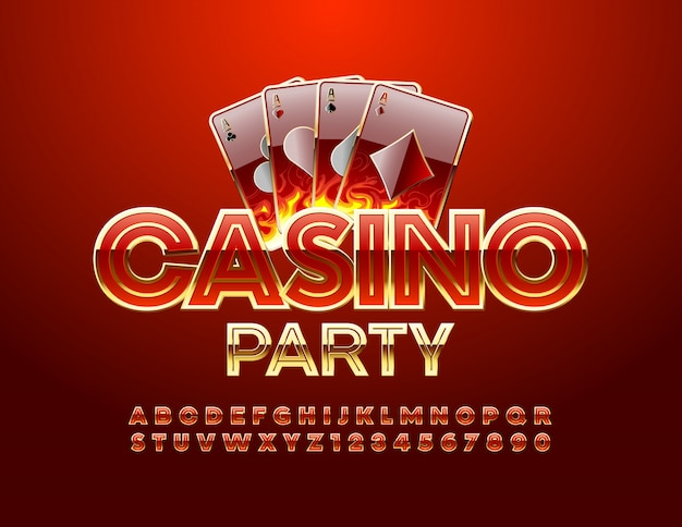 Casino party emblem and blue alphabet and numbers