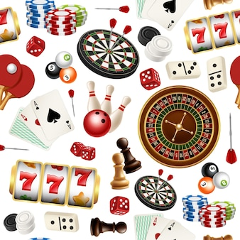 Casino pattern. poker cards doodle domino bowling darts roulette checkers  symbols of games seamless realistic illustrations.