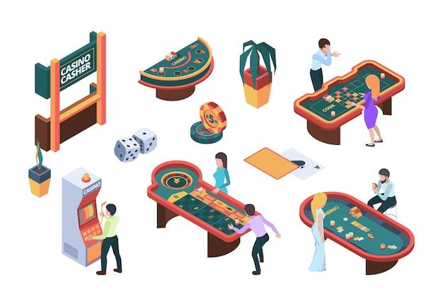카지노 사람들. 게임 나이트 클럽 카드 포커 슬롯 머신 도박 문자 벡터 아이소 메트릭 그림