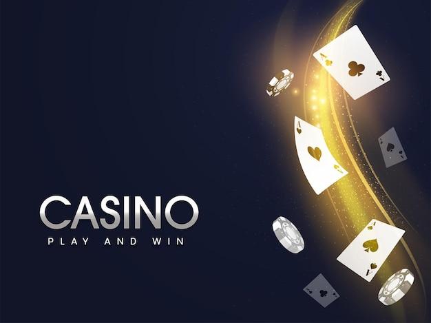 フライングエースカード、リアルなポーカーチップ、金色の粒子が青い背景に波打つカジノプレイアンドウィンのコンセプト。