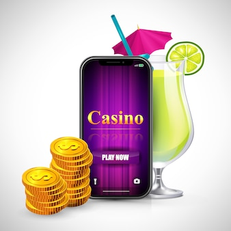 Casino play now lettering on smartphone screen, stacks of coins and cocktail