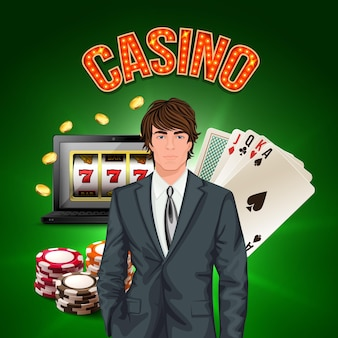 Casino player realistic composition with stylish man in a suit in the foreground and game attributes vector illustration
