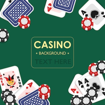 Casino playing card green background design.