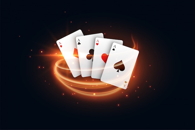 Casino playing card with golden light streak