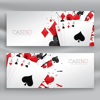 Casino playing cards banners