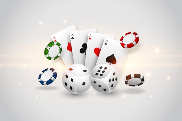 Casino playing cards dice and flying chips background