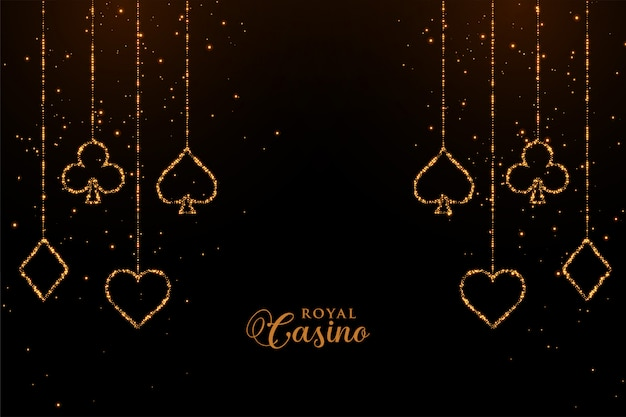 Casino playing cards golden sparkle background