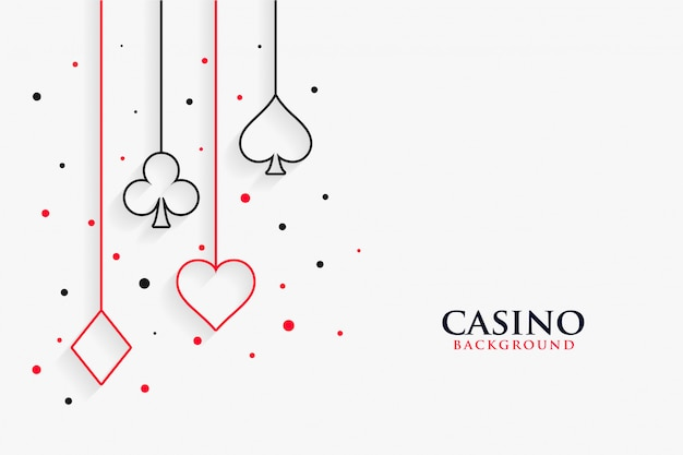 Casino playing cards line symbols white background