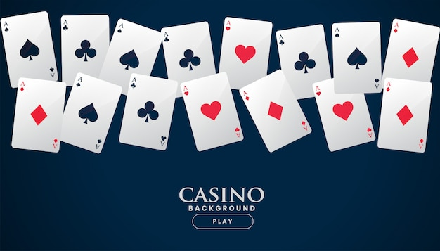 Casino playing cards placed in a line background