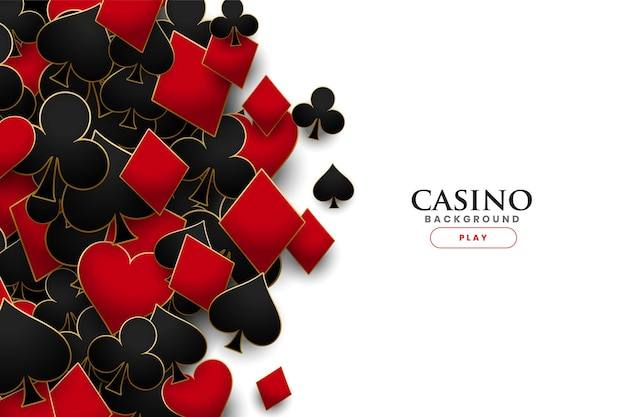 Casino playing cards symbols realistic background Free Vector