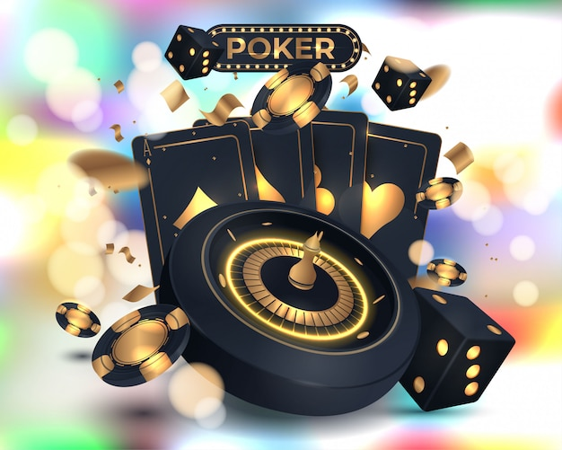 Casino poker card and roulette wheel and elements