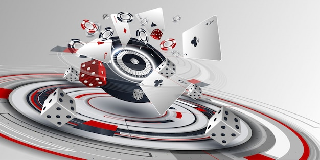 Casino poker card and roulette wheel elements